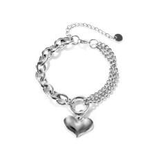Double Chain Ring Bracelet Stainless Steel Love Bracelet