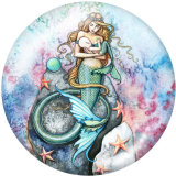 20MM  Mermaid   Print   glass  snaps buttons