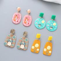 Hataya Acetate Plate 3D Farbe Dreidimensionale Eule Fox Fun Animal 925 Silver Pin Ohrringe
