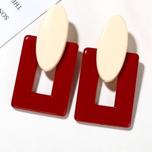 Geometrisches Rechteck Rot Acryl Einfache Design Mode Europäische Stil Ohrringe
