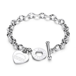 Edelstahl Damenarmband O-Kette Love Bible Proverbs 4:23 Armband