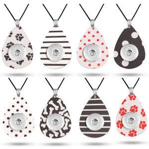Dog paw print Leather necklace  chain adjustable  fit 20MM chunks snaps jewelry