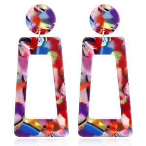 Boucles d'oreilles exagérées imprimé léopard Feuille acrylique acrylique Boucles d'oreilles géométriques longues carrées en forme de T