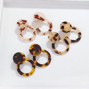 Acrylacetat-Doppelring-Scheibenohrringe mit Leopardenmuster Ohrschmuck