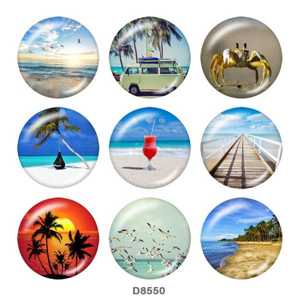 20MM   summer   Print   glass  snaps buttons