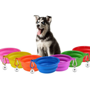 TPE pliant Silicone Pet Bowl chien bol Portable Pet Supplies fit 18 & 20MM snap buttom snap bijoux