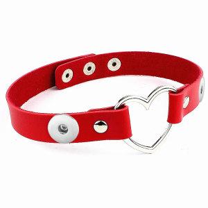 Harajuku Punk PU Leder Pfirsich Herz Liebe Schmuck Halsband Halskette Halskette passen zwei 20MM Brocken Schnappverschlüsse Schmuck