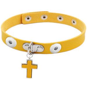 Gothic PU Leder Halskette Schlüsselbein Kette Einfache Kreuz Anhänger Halskette Kragen passen zwei 20MM Brocken Schnappverschlüsse Schmuck