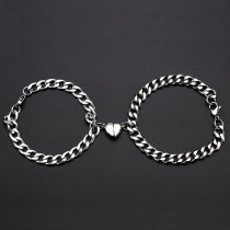 Stainless steel Cuban NK love magnet attracts a pair of male and female couples bracelets