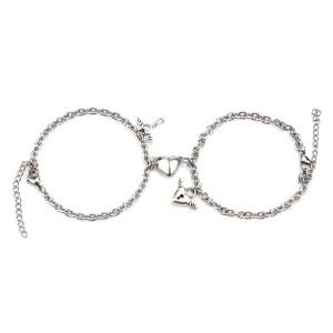 Neues Edelstahl Paar Armband einfache herzförmige Magnetschloss Schlüssel männlich und weiblich Armband Paar