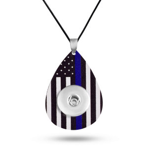 Independence day flag Leather necklace  chain adjustable  fit 20MM chunks snaps jewelry