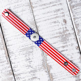 New Baseball Football Basketball American Flag Ball Leather Bracelet PU Bracelet fit 20mm snaps chunks 1 button