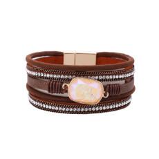 Multi-layer hot diamond crystal with leather bracelet women