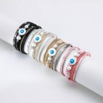 Multilayer woven devil's eye pearl leather bracelet