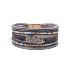 Bohemian hot-stamped diamond multi-layered wide-sided geometry accessory magnetic buckle bracelet