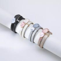 Retro style double color painted oil drop X hot diamond double layer bracelet women leather bracelet