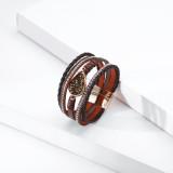 Water Drop Diamond Accessory Bracelet Multilayer Magnetic Clasp Leather Bracelet