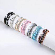 Holiday style three-layer hot diamond braided figure 8 leather bracelet