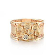 Bloom series ethnic style inlaid crystal magnetic buckle leather bracelet