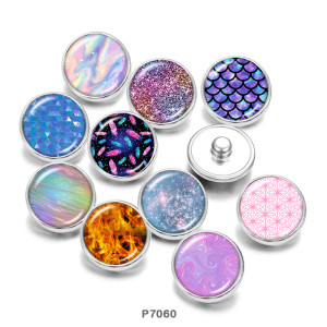 20MM  color  pattern   Print   glass  snaps buttons