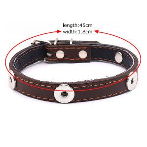 Haustier Lederhalsband kleine und mittelgroße Hundezubehör verstellbare Haustierzubehör passt 4 18 & 20MM Snap Buttom Snap Schmuck