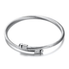 Stainless Steel Cable Wire Bracelet Gold+Rose Gold+Steel Color Fashionable Simple Jewelry Lady Jewelry