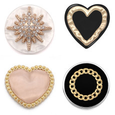 20MM design Heart LOVE metal snap Golden  Plated with Rhinestone snap button