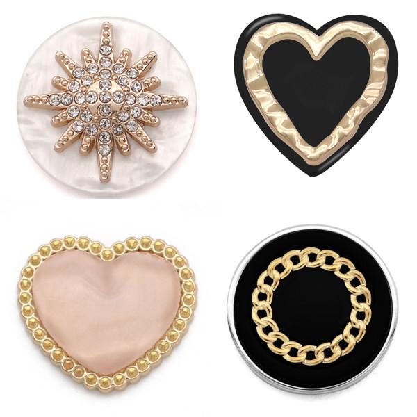 20MM Design Heart LOVE Metallknopf Golden Plated mit Strassknopf