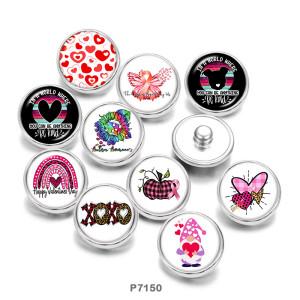 20MM   Flower   love   Print   glass  snaps buttons