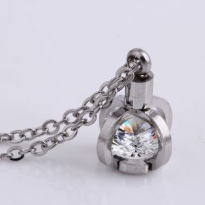 55CM chain Stainless Steel Necklace Crown Zircon Pendant