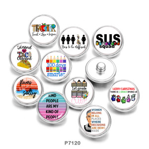 20MM  words   Pattern   Print   glass  snaps buttons