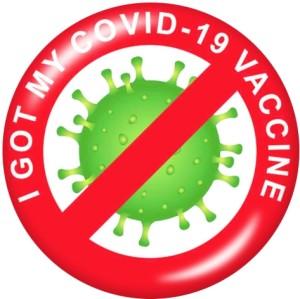 VACCIN COVID-20 19MM J'ai reçu mon vaccin Boutons pressions en verre imprimés