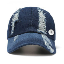Summer denim fashion cap with sun protection fit 18mm snap button beige