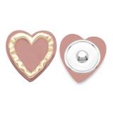Bouton pression coeur LOVE 20MM plaqué argent avec bouton pression en résine