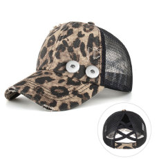 Leopard Summer sun-shading and sun protection cap Horsetail peaked cap fit 18mm snap button beige