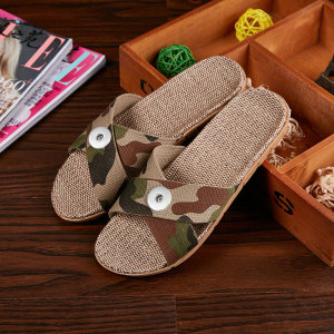 2 buttons Linen bottom slippers for home furnishing women and men summer couples indoor non-slip soft bottom fit18&20MM  snaps jewelry