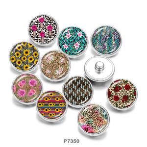 20MM  Flower   Sunflower    Print   glass  snaps buttons
