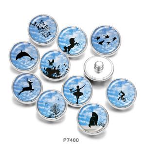 20MM   Dance  Deer  Unicorn  Print   glass  snaps buttons