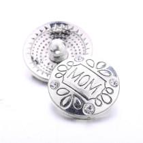 Bouton pression en métal de conception de fête des mères de Noël 20MM plaqué argent avec bouton-pression en strass