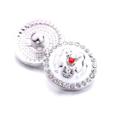 20MMクリスマス母の日デザインメタルスナップシルバーラインストーンスナップボタンメッキ