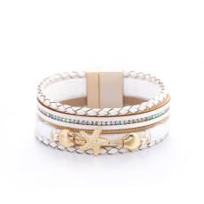 Holiday style small starfish inlaid diamond leather bracelet