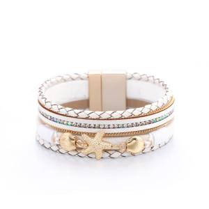 Bracelet en cuir de diamants incrustés d'étoiles de mer de style vacances
