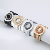Large Hollow Circle Vintage Bracelet Fine Pearl Diamond Leather Bracelet