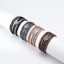 Multilayer Thin Chain Bracelet Thin Circle Cross Diamond Color Diamond Wide Side Jewelry