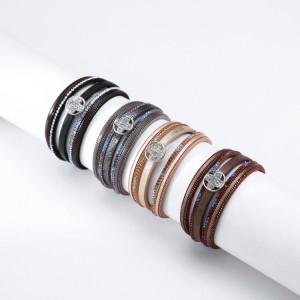 Pulsera de cadena fina multicapa Círculo fino Cruz Diamante Color Diamante Joyas de lado ancho