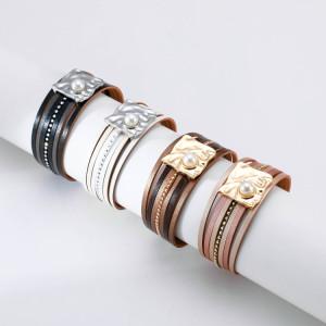 Ethnisches Armband Böhmische mehrschichtige Lederschnalle eingelegte Perlenarmband Magnetschnalle