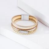 Women's multi-layer diamond bracelet leather bracelet