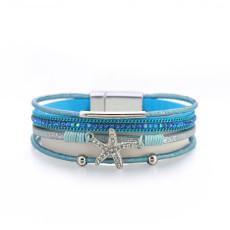 Multilayer bracelet personality fashion diamond starfish bracelet ladies leisure holiday style small round bead jewelry
