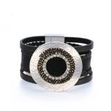 Großes hohles Kreis-Vintage-Armband Feines Perlen-Diamant-Lederarmband