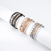 Color matching metal brass tube bracelet ladies personality retro multilayer magnetic buckle leather bracelet